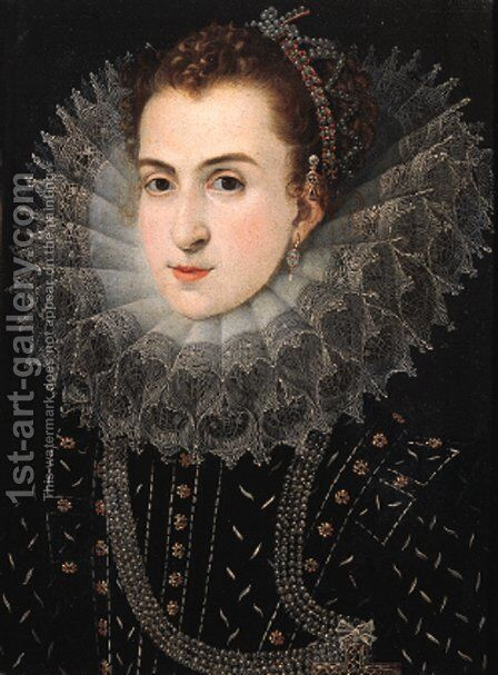 Portrait of a noblewoman by (after) Frans, The Elder Pourbus - Reproduction Oil Painting