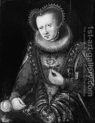 Portrait of a noblewoman, standing small threequarter length by a table by (after) Frans, The Elder Pourbus - Reproduction Oil Painting
