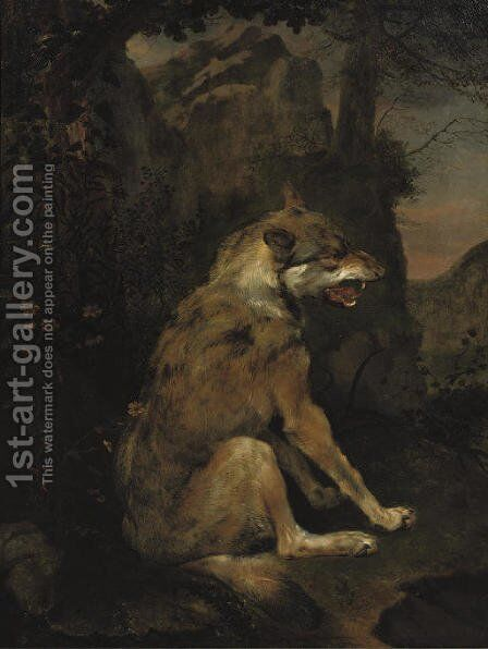 A wolf in a rocky landscape by (after) Frans Snijders - Reproduction Oil Painting