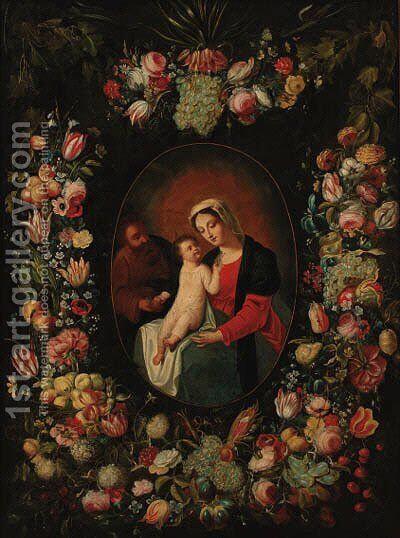 A garland of flowers and fruit decorating a medallion of the Holy Family by (after) Frans Snyders - Reproduction Oil Painting