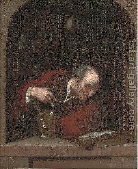 A doctor at a casement by (after) Frans Van Mieris - Reproduction Oil Painting