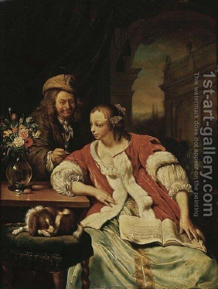 A man offering a glass of wine to an elegant young lady studying music in an interior by (after) Frans Van Mieris - Reproduction Oil Painting
