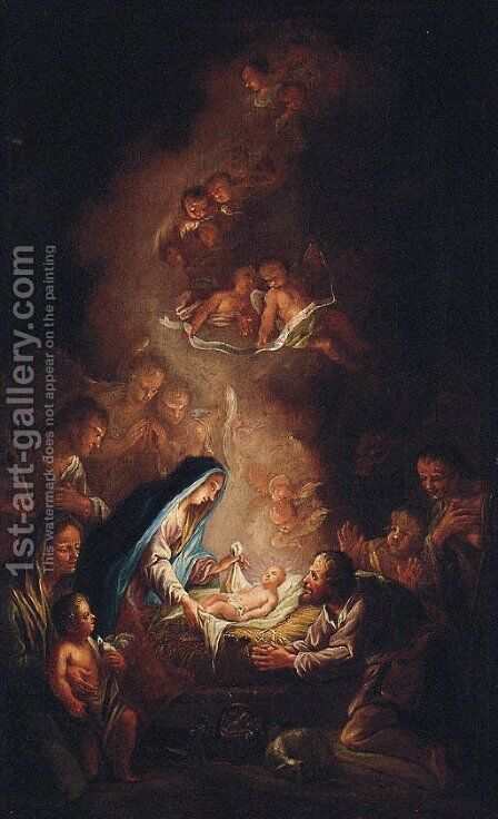 The Adoration of the Shepherds by (after) Franz Sigrist - Reproduction Oil Painting