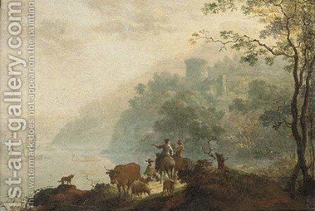 An Italianate landscape with cattle herders in the foreground by (after) Frederick De Moucheron - Reproduction Oil Painting
