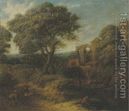 A wooded landscape with  figures on a path by (after) Frederick De Moucheron - Reproduction Oil Painting