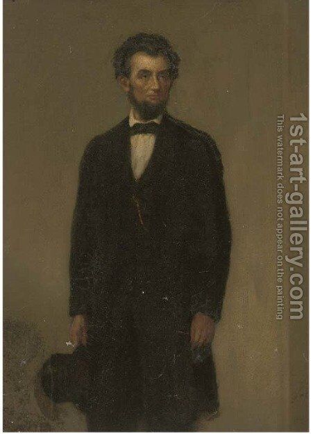 Portrait of a gentleman, traditionally identified as Abraham Lincoln (1809-1865) by (after) Freeman Thorp - Reproduction Oil Painting