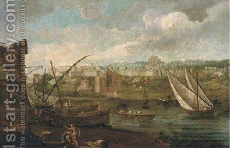 A capriccio of a riverside landscape with shipping and figures on the shore, a fortified palace beyond by (after) Caspar Andriaans Van Wittel - Reproduction Oil Painting