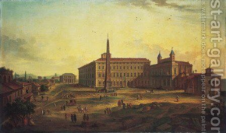 The Piazza San Giovanni in Laterano, Rome by (after) Caspar Andriaans Van Wittel - Reproduction Oil Painting