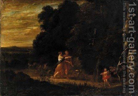A lovers' stroll by (after) Gaspard Dughet - Reproduction Oil Painting