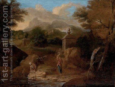 A classical wooded river landscape, with figures conversing on a track by (after) Gaspard Dughet - Reproduction Oil Painting