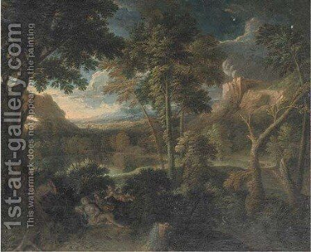 A landscape with Venus and Adonis by (after) Gaspard Dughet - Reproduction Oil Painting
