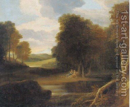 A classical landscape with nymphs reclining by a tree by (after) Gaspard Dughet - Reproduction Oil Painting