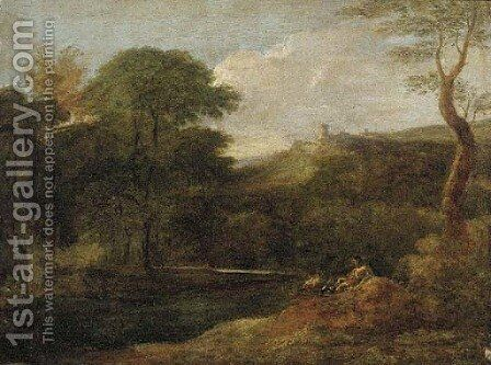 A river landscape with figures by a stream, a hilltop fort beyond by (after) Gaspard Dughet - Reproduction Oil Painting