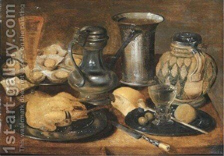 A roast pheasant, a roemer, olives, a lemon and a pipe, and oysters on pewter plates by (after) Georg Flegel - Reproduction Oil Painting