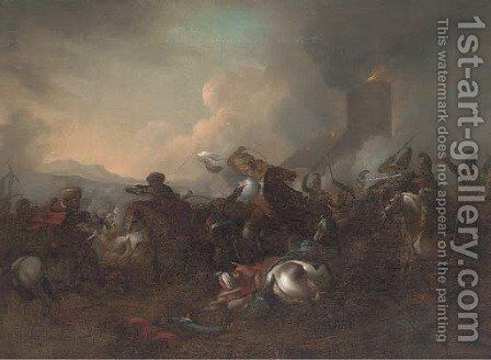 A cavalry skirmish between Christians and Turks by (after) Rugendas, Georg Philipp I - Reproduction Oil Painting