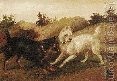 Terriers ratting by (after) George Armfield - Reproduction Oil Painting