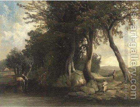 Cattle watering and anglers by a river by (after) George Augustus Williams - Reproduction Oil Painting