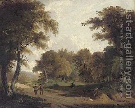 Faggot gatherers walking along a woodland track, with cows grazing beyond by (after) George Barret - Reproduction Oil Painting