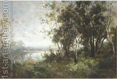 A wooded river landscape by (after) George Boyle - Reproduction Oil Painting
