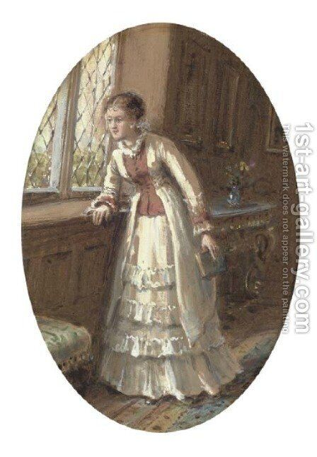 Waiting for the guests by (after) George Goodwin Kilburne - Reproduction Oil Painting