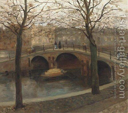 Figures walking across a bridge over a Dutch canal by (after) George Hendrik Breitner - Reproduction Oil Painting