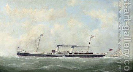 The cross-Channel paddlesteamer Paris (II) outward bound for France with a racing cutter astern of her by (after) George Mears - Reproduction Oil Painting