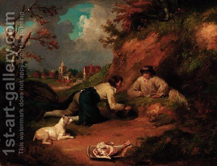 Boys rabbiting with a village beyond by (after) George Morland - Reproduction Oil Painting