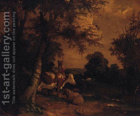 Figures with Cattle and Sheep in a wooded Landscape by (after) George Morland - Reproduction Oil Painting