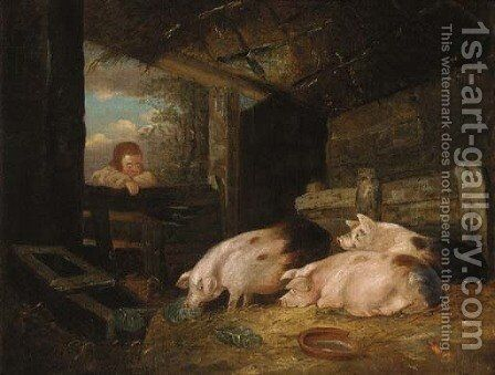Pigs in a sty with a child at the gate by (after) George Morland - Reproduction Oil Painting