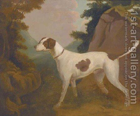 A foxhound in a landscape by (after) Stubbs, George - Reproduction Oil Painting
