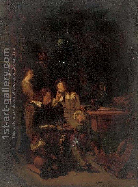 A guardroom interior by (after) Gerard Ter Borch - Reproduction Oil Painting