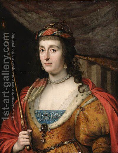 Portrait of Elizabeth, Queen of Bohemia, half-length, in a gold- embroidered dress with ermine lining, a red cape and holding a sceptre by (after) Honthorst, Gerrit van - Reproduction Oil Painting