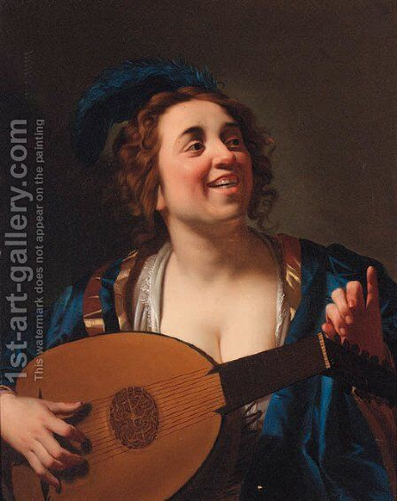 A woman playing the lute by (after) Honthorst, Gerrit van - Reproduction Oil Painting
