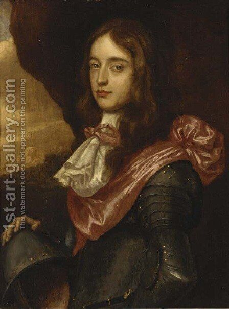 Portrait of a nobleman, thought to be Prince Rupert Palatine, small-half-length, in armour with a crimson sash, a landscape beyond by (after) Honthorst, Gerrit van - Reproduction Oil Painting