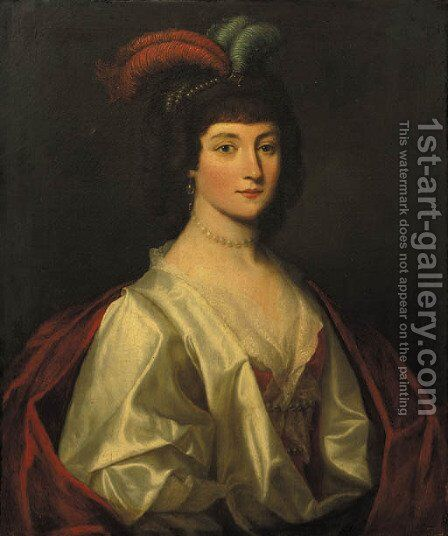 Portrait of a noblewoman, said to be Sophie von Braunschweig Lunneburg, Kurfarstin of Hannover (1630-1714), half length, wearing a white silk dress by (after) Honthorst, Gerrit van - Reproduction Oil Painting