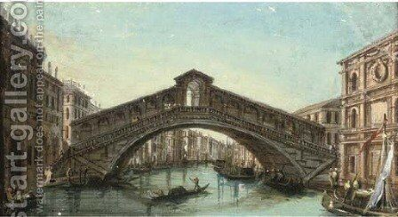 The Rialto Bridge, Venice by (after) Giacomo Guardi - Reproduction Oil Painting