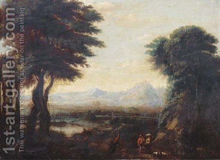 An extensive river landscape with travellers and their flock on a path 2 by (after) Gillis Neyts - Reproduction Oil Painting
