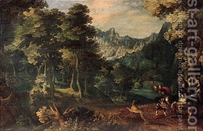 A tiger hunt in a forest, a valley beyond by (after) Gillis Van Coninxloo - Reproduction Oil Painting