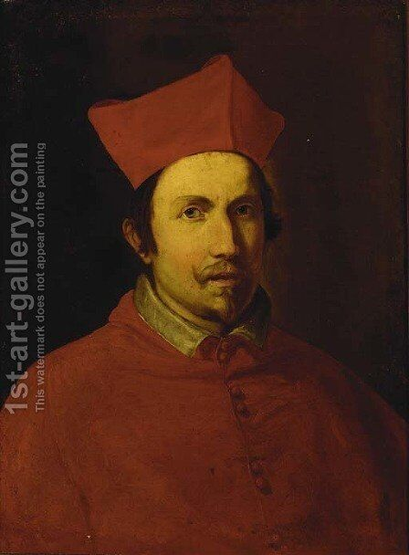 Portrait of a Cardinal, thought to be Alessandro Farnese by (after) Giovanni Battista (Baciccio) Gaulli - Reproduction Oil Painting