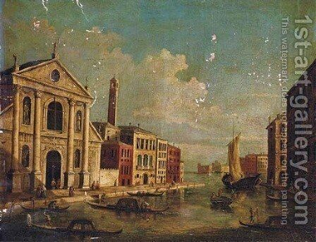 A capriccio of a Venetian canal by (after) (Giovanni Antonio Canal) Canaletto - Reproduction Oil Painting