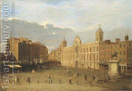 Northumberland House, London by (after) (Giovanni Antonio Canal) Canaletto - Reproduction Oil Painting