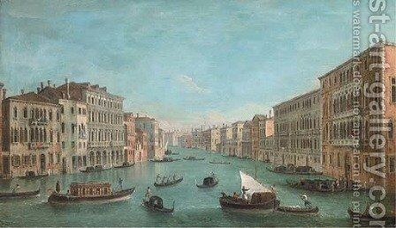 The Grand Canal looking South from the Palazzo Foscari and the Palazzo Moro-Lin to Santa Maria della Carita by (after) (Giovanni Antonio Canal) Canaletto - Reproduction Oil Painting