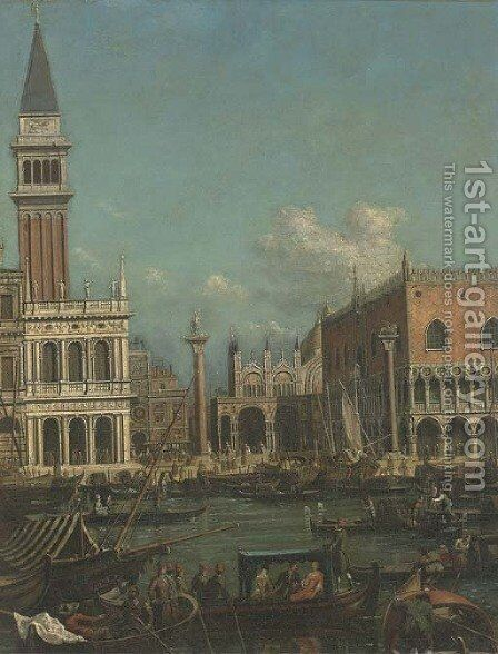 The Molo, Venice, with the Doge's Palace and the Piazzetta from the Bacino di San Marco by (after) (Giovanni Antonio Canal) Canaletto - Reproduction Oil Painting
