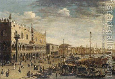The Riva degli Schiavoni, Venice, looking East by (after) (Giovanni Antonio Canal) Canaletto - Reproduction Oil Painting