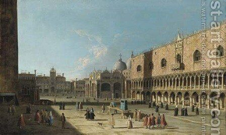 Venice, the Piazza San Marco from the Piazzetta by (after) (Giovanni Antonio Canal) Canaletto - Reproduction Oil Painting