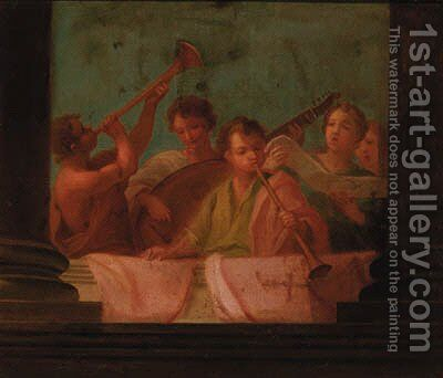 Singers and musicians on a balcony by (after) Giovanni Antonio Pellegrini - Reproduction Oil Painting