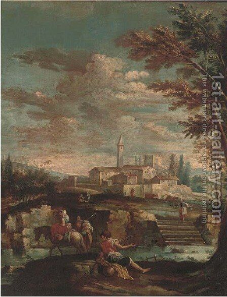 An Italianate river landscape with travellers and an angler on a river bank, a town beyond by (after) Gianbattista Cimaroli - Reproduction Oil Painting