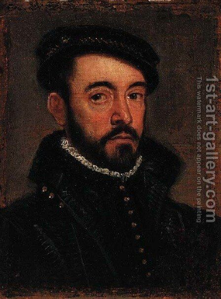 Portrait of a gentleman, bust-length, in a black cap and doublet by (after) Giovanni Battista Moroni - Reproduction Oil Painting