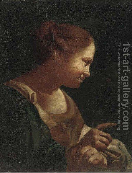 Head of a girl by (after) Giovanni Battista Piazzetta - Reproduction Oil Painting
