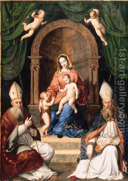 The Madonna and Child enthroned with the Infant Saint John the Baptist, and two Bishop Saints by (after) Giovanni Battista Salvi, II Sassoferrato - Reproduction Oil Painting